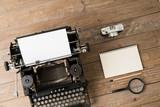 Top view of retro style typewriter in studio - 220554881