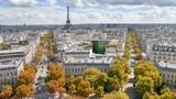 Paris in autumn color, Champs Elysees and the Eiffel Tower - 220581621