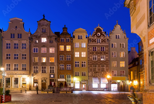 fototapeta na ścianę Image of night light of Moltawa River in Gdansk