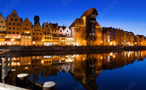obraz PCV Image of night light of Moltawa River in Gdansk