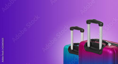 Colorful horizontal banner with two suitcases and copyspace. Travelling concept. - 220613635