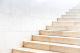 Marble staircase with stone stairs in building