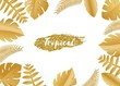 Composition with luxury golden jungle leaves on white background in paper cut style. Tropical gold leaf frame, template for design poster, banner, flyer weddingcard, Vector illustration. - 220618880