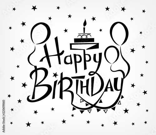 Happy Birthday Vector Background With Lettering Design Template