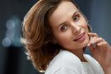 Beautiful Woman With Beauty Face, Short Hair And Natural Makeup - 220620698