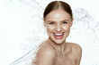 Beauty. Woman With Water On Face And Body. Spa Skin Care