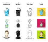 A glass of water, a bottle of alcohol, a sweating man, an apple. Diabeth set collection icons in cartoon,black,outline,flat style vector symbol stock illustration web.