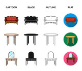 Sofa, armchair, table, mirror .Furniture and home interiorset collection icons in cartoon,black,outline,flat style vector symbol stock illustration web. - 220636405
