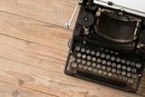 Top view of retro style typewriter in studio - 220636878