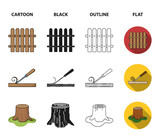 Fence, chisel, stump, hacksaw for wood. Lumber and timber set collection icons in cartoon,black,outline,flat style vector symbol stock illustration web. - 220637029