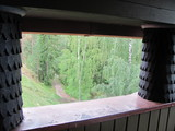 Beautiful view from the balcony to the lake and the forest