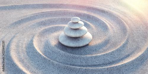 Leinwanddruck Bild Zen - Steinturm im Sand mit Wellen