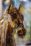 La tête d'un cheval est en verre foncé - 220648625