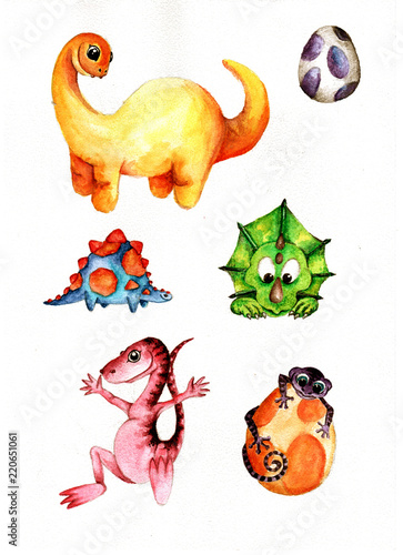 Fototapeta Cute Little Watercolor Dinos hand painted illustration