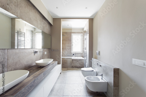 Modern bathroom with double sink