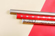 Golden and red wrapping paper.Top view flat lay group objects