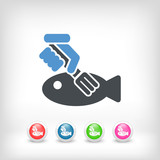 Fish eating icon concept - 220653892