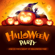 Halloween Party. Jack O Lantern party. Halloween pumpkin patch in the moonlight.