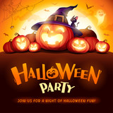 Halloween Party. Jack O Lantern party. Halloween pumpkin patch in the moonlight. - 220656683