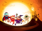 Halloween Kids Costume Party. Group of kids in Halloween costume jumping in the moonlight. - 220656814