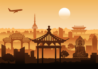 Korea famous landmark silhouette style with row design on sunset time