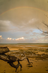 Rainbow over the sea in Fraser Island in Australia © stephane