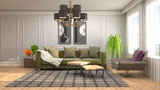 Interior of the living room. 3D illustration - 220668259