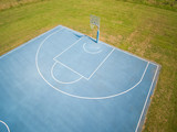 aerial view on outdoor blue basketball court. - 220669400