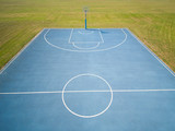 aerial view on outdoor blue basketball court. - 220669414