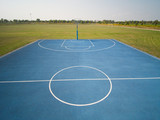 aerial view on outdoor blue basketball court. - 220669415