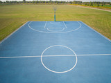 aerial view on outdoor blue basketball court. - 220669429
