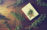 Christmas present with natural evergreen twigs on wooden background. Flatlay. Copy space - 220670847