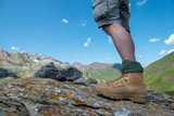 close-up of a hiker's foots in  mountain - 220671644