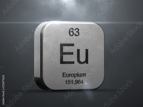 Europium Element From The Periodic Table Metallic Icon 3d Rendered