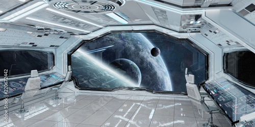 Leinwanddruck Bild White clean spaceship interior with view on planet Earth 3D rendering