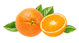 Oranges with leaves isolated on white background with clipping path - 220673606