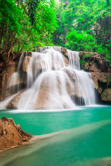 Beautiful waterfall in the deep forest in Thailand
