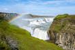 Leinwanddruck Bild - Gullfoss Wasserfall mit Regenbogen - Island