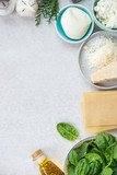 Ingredients for Vegetarian Spinach and Ricotta Lasagna - 220680898