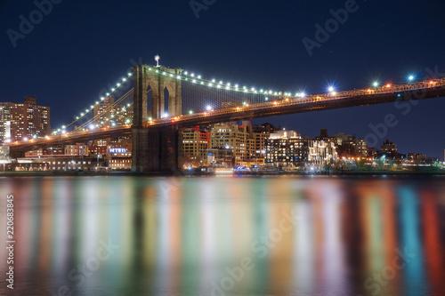 Manhattan Bridge and Brooklyn Skyline at night