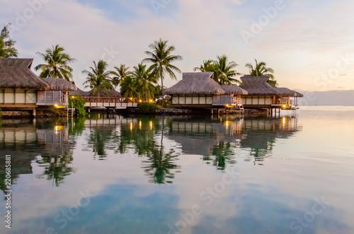 Leinwandbild Motiv Overwater bungalows, French Polynesia