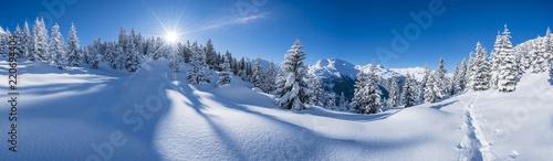 Leinwanddruck Bild Winter in den Alpen