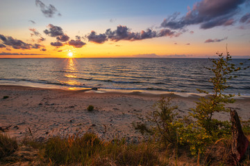Baltic sea, sunset on the cliffs in the Wolinski National Park