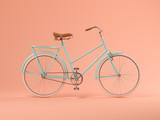 Blue bicycle on pink background 3D illustration - 220698657