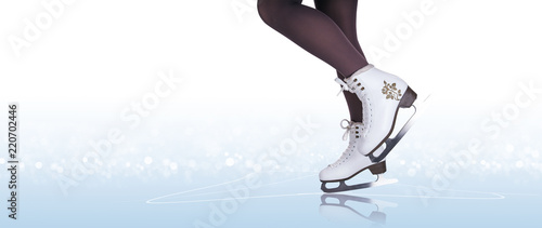 Leinwanddruck Bild Woman legs in ice skating boots