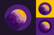 Cosmic Planet Logo in Round Form on Violet, Black and Yellow Backgrounds - 220703251