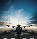 Huge two storeys commercial jetliner taking of runway - 220704014