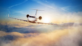 Luxury private jetliner flying above clouds - 220704046