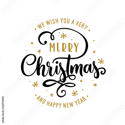 merry christmas and happy new year lettering template greeting card or invitation vector vintage