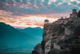 Sunset over Varlaam monastery in Meteora, Greece